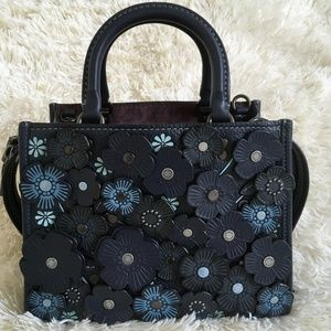 Coach Rogue 25 with Tea Roses in Midnight Navy